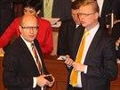 Šéf ČSSD Bohuslav Sobotka a šéf lidovců Pavel Bělobrádek v úvodu první schůze...
