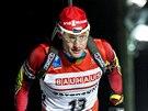 Český biatlonista Ondřej Moravec na trati závodu Světového poháru, který se jel ve švédském Östersundu.