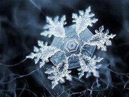 Vločky fotí Kljatov pod hvězdnou oblohou a využívá přirozeného světla. Jako pozadí využívá tmavé látky nebo koberce, v tomto případě tmavě šedou vlnu. Pro zvýraznění obrysu vločky a minimalizaci šumu je tento obrázek součtem tří fotografií. (Foto: Alexej Kljatov, únor 2011, Moskva)