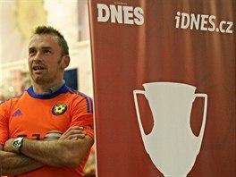 Jarom�r Bla�ek z fotbalov� Jihlavy p�i akci Trophy Tour.