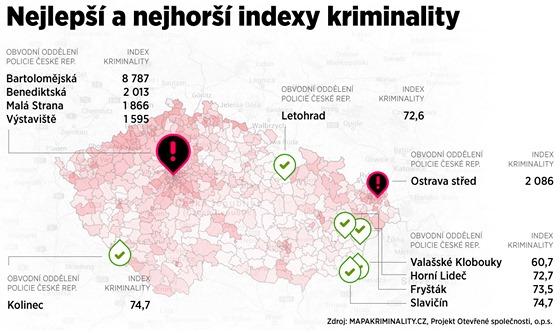 MAPA: Nejlep�� a nejhor�� indexy kriminality