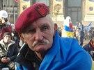 Příznivec ukrajinské strany Svoboda na kyjevské barikádě (4. prosince 2013)
