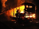 Požár vagonu na nákladovém nádraží Praha - Vršovice (3.12.2013)