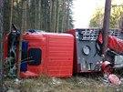 Převrácená hasičská cisterna u Příbrami