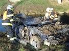 U Říkovic na Přerovsku vyjelo auto ze silnice a skončilo na střeše na břehu