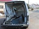 Snímek z nehody v obci Sušice na Přerovsku, kde řidič dodávky Citroën Jumper ve...