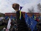 Protesty na náměstí Svobody v ukrajinském Kyjevě