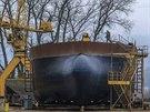 Nova �eské lod�nice, lo�, stavba, D��ín (4. prosince 2013, D��ín).