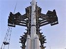 Raketa Long March 3B nesoucí měsíční sondu Čchang E-3 připravená na odpalovací...