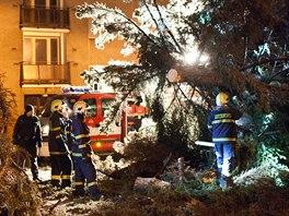 Hasiči odstraňují strom, který v noci v  Novém Městě nad Metují vyvrátil silný...