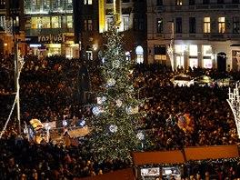 Vánoční strom v Brně.