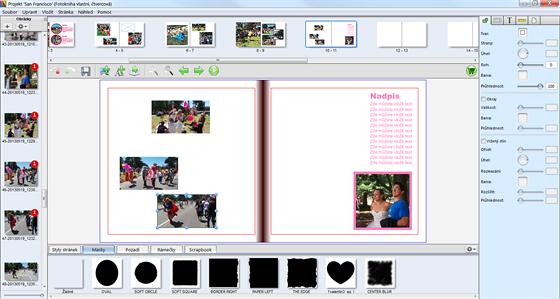 Vlevo jsou fotky (číslo ukazuje, kolikrát je v knize použita), nahoře...