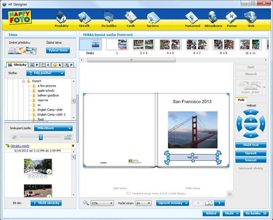 Program ukazuje nahoře jednotlivé stránky, vlevo obrázky (a případně i možnosti...