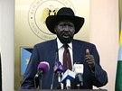 Prezident Jižního Súdánu Salva Kiir Mayardit na tiskové konferenci (18.