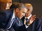 Prezident USA Barack Obama na vzpomínkové akci na počest zemřelého Nelsona