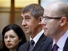 Věra Jourová, Andrej Babiš a Bohuslav Sobotka při tiskové konferenci, na které