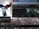 PlayStation 4 - rozvětvená nabídka po najetí na kartu hry