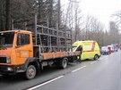 Nehodu dvou osobních aut a nákladního vozu zapříčinila řidička při předjíždění...