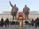 Sousoší zakladatele KLDR Kim Ir-sena a jeho syna Kim Čong-ila na návrší Mansude...
