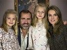 Španělský princ Felipe, jeho manželka Letizia a dcery Sofia a Leonor (16....