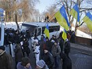 Provládní demonstranti v centru Kyjeva vyjádřili podporu prezidentu Viktoru