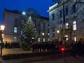 Jiří Rusnok rozsvítil vánoční strom před Úřadem vlády.
