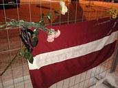 Lotyšská vlajka u trosek zříceného obchodního domu Maxima (Riga, 10. prosince...
