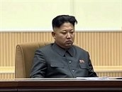 Kim Čong-un na slavnostech připomínající jeho otce  Kim Čong-ila, který zemřel...
