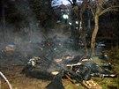 Uvnitř chatky poblíž ulice Pivovarská na Starém Brně uhořeli dva bezdomovci. Z dřevěné boudy zůstaly jen ohořelé trámy.