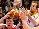 Momentka z basketbalového duelu Pardubice vs. Nymburk