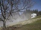 Z terasy se otevírají panoramatické výhledy do krajiny.