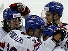 Čeští juniorští hokejisté David Pastrňák, Martin Procházka, Petr Šidlík a Ronald Knot (zleva) slaví trefu proti Slovensku
