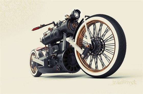 Parní motocykl Train Wreck