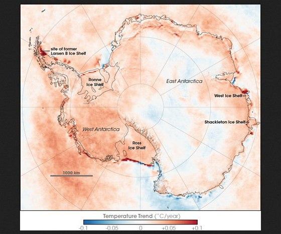 Oteplování a ochlazování v Antarktidě v letech 1981-2007. V pravé dolní části...
