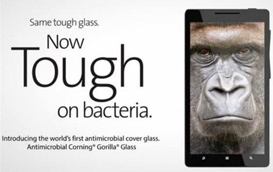 Antimikrobi�ln� sklo Gorilla Glass by m�lo zni�it a� 99,9 % bakteri�.