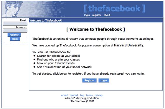 Jedna z prvních verzí Facebooku, tehdy ještě na adrese thefacebook.com. V roce...