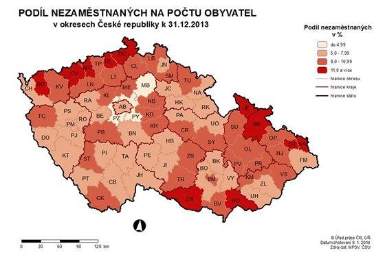Nezaměstnanost v ČR na konci roku 2013.