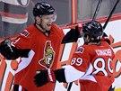 Milan Michálek (vlevo) slaví branku proti Winnipegu, o radost se s ním dělí