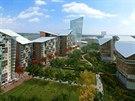 Úplně nová čtvrť s obchodními centry, školami, bytovými a kancelářskými...