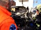 Nehoda autobusu s nákladním vozem ve Strašnicích (3.1.2014)