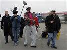 Dennis Rodman po p��letu na leti�t� v Pchjongjangu (6. ledna)