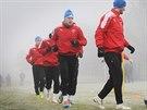 Plzeňští fotbalisté během tréninku na začátku zimní přípravy.