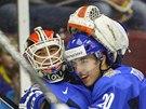 POSTUPOVÉ OBJETÍ. Hokejisté Finska slaví postup do semifinále MS do 20 let.