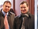 David Rath s advokátem Adamem Černým v úterý 7. ledna 2014 u soudu