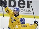 Švédští hokejisté Lucas Wallmark a Christian Djoos se radují z gólu.