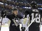 James Neal a Jussi Jokinen z Pittsburghu slaví trefu proti Winnipegu.