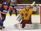 Jihlavský gólman David Rittich čeká v rozkleku na ránu z hole hokejisty