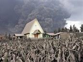 Erupce indonéské sopky Mount Sinabung (6. ledna 2014)