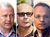 B�val� ��fov� Vojensk�ho zpravodajstv� Milan Kovanda (vlevo) a Ondrej P�len�k (uprost�ed) a d�stojn�k vojensk� zpravodajsk� slu�by Jan Poh�nek.