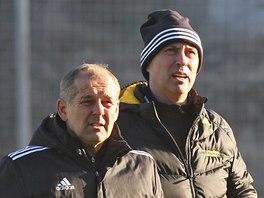 Petr Rada a Zdeněk Klucký na prvním tréninku fotbalistů Jihlavy v roce 2014.